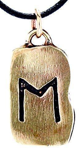 Kiss of Leather Runen Anhänger Ehwaz aus Bronze mit Baumwollband