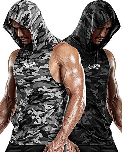 DRSKIN 2 Pack Men's Hooded Tank Tops Bodybuilding Muscle Cut Off T Shirt Sleeveless Gym Training Hoodies Workout Dry (T-Hood (MGY08,MBB10), L)
