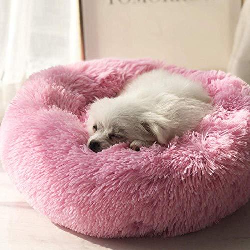 KongEU extra großes Hundebett mit kuscheligem Plüsch,warm und weich Rundes Hundekissen Hundekorb Katzenbett Hunde Sofa abwaschbar für mittleregroße und groß Haustier-Rosa-S:60 * 60 * 20CM