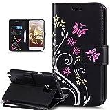 Coque Galaxy Note 4,Etui Galaxy Note 4,Peint coloré Embosser Papillon fleur Housse en Cuir PU Etui Housse en Cuir Portefeuille de...