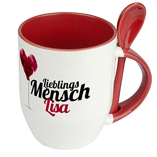 printplanet Löffeltasse mit Namen Lisa - Motiv Lieblingsmensch - Namenstasse, Kaffeebecher, Mug, Becher, Kaffeetasse - Farbe Rot
