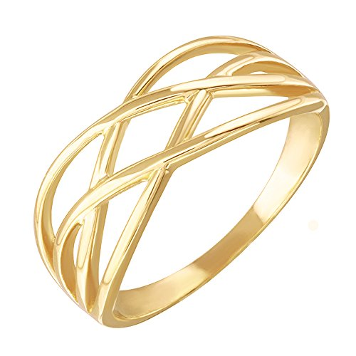 Modern Contemporary Rings High Polish 10k Yellow Gold Celtic Knot Ring for Women (Size 12)