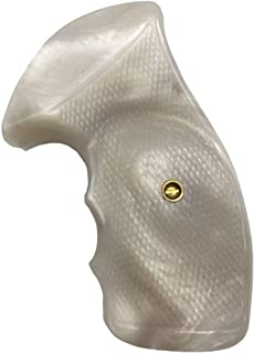 handicraftgrips NRR01## New Smith & Wesson S&W N Frame Round Butt Grips 22 25 29 325 327 329 520 610 625 627 629 White Pearl Color Polymer Resin Smooth Finger Groove Handcraft Special Birthday Gift