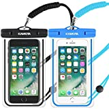 KAMOTA Waterproof Case, 2 Pack Glow in The Dark IPX8 Universal Waterproof Phone Pouch Cases Dry Bag with Military Lanyard for iPhone Samsung Google Pixel HTC LG Huawei (Blue Black)