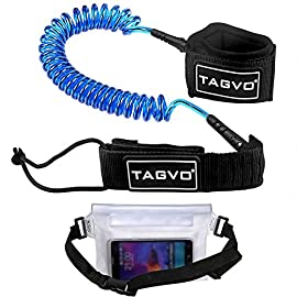Tagvo sup leash coiled 10' super strong 7mm cord with waterproof waist pouch, comfortable padded neoprene ankle cuff… 1 super safety: coiling design eliminates the sup leash dragging in water and avoids snagging submerged objects to protect you from falling off the board. When you wipe out, the flexible leash can be easily extended to max 10 feet. Super comfortable: the ankle cuff of this body board leash is made of soft padded neoprene material, extremely comfortable; suitable for all ankle size from 1 to 14 inches; a nylon ring is added on the cuff for easy releasing. Super strong: 7mm tpu polyurethane code makes this board leash sturdy and strong enough for surfing even with huge surge, although a little heave to 0. 55lb.