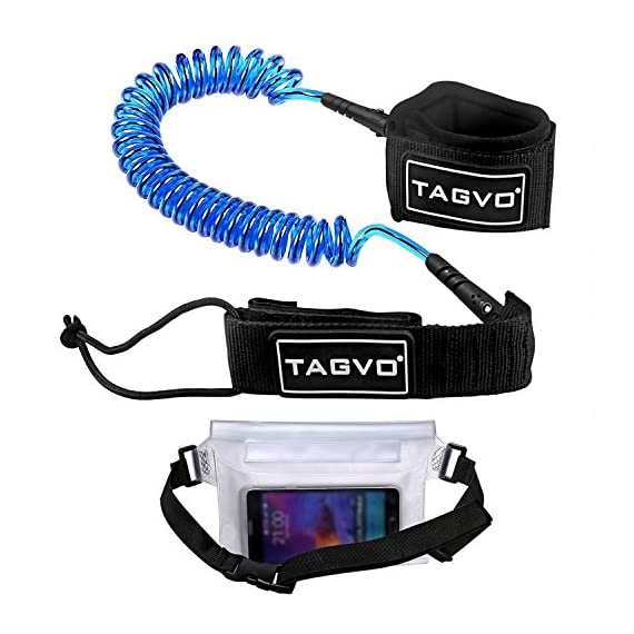 Tagvo Sup Leash Coiled 10' Super Strong 7mm Cord with Waterproof Waist Pouch, Comfortable Padded Neoprene Ankle Cuff… 1 SUPER SAFETY: coiling design eliminates the SUP leash dragging in water and avoids snagging submerged objects to protect you from falling off the board. when you wipe out, the flexible leash can be easily extended to Max 10 feet. SUPER COMFORTABLE: the ankle cuff of this body board leash is made of soft padded neoprene material, extremely comfortable; suitable for all ankle size from 1 to 14 inches; a nylon ring is added on the cuff for easy releasing. SUPER STRONG: 7mm TPU polyurethane code makes this board leash sturdy and strong enough for surfing even with huge surge, although a little heave to 0.55lb.