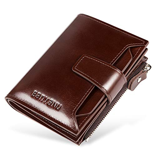 Wallet for Men Men's Leather Wallet – Mens RFID Trifold Walle with 17 Credit Card Pockets and Removable Id Window BANYANU