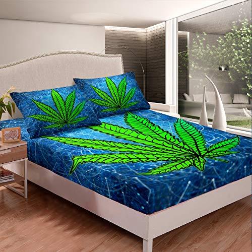 Juego de sábanas de marihuana con hojas de cannabis, juego de sábanas para niños, niñas, adolescentes, rayas geométricas, sábanas de marihuana y cáñamo con 2 fundas de almohada, 3 piezas de ca
