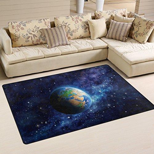 Coosun Planète Terre dans l'espace Zone Tapis Moquette antidérapant Tapis de sol Paillasson pour salon Chambre à coucher 152.4 x 99.1 cm, Tissu, multicolore, 60 x 39 inch
