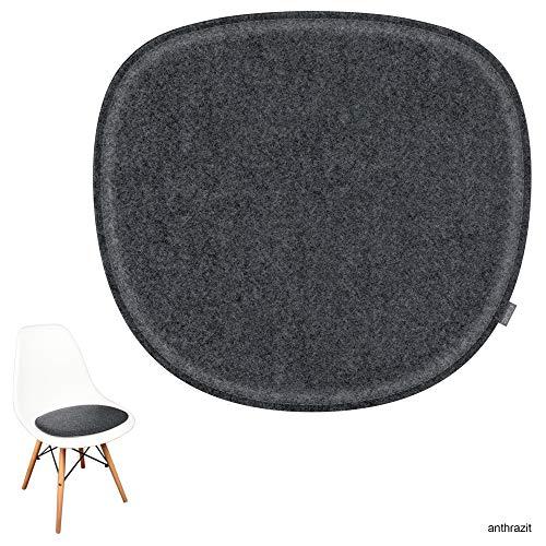 noe Eco Filz Sitzkissen geeignet für Vitra Eames Sidechair DSW,DSR,DSX,DSS - 29 Farben - optional gepolstert und mit Antirutsch! (anthrazitmeliert)
