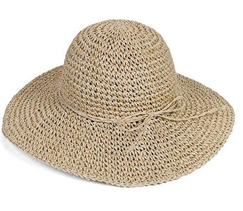 HugeStore Faltbarer Sonnenhut mit breiter Krempe, schicker Sonnenschutz, Sommer-Strandhut für Damen, beige