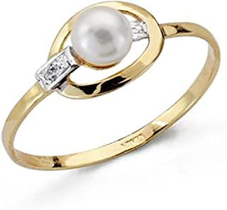 18K Gold Ring Bicolor First Communion Zircons Band Pearl Fence Girl