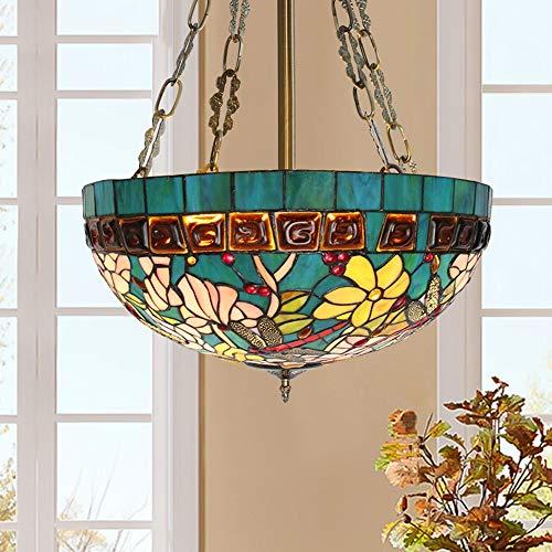 U/D Araña Lámpara de Techo LED mediterránea del Estilo de Stained Glass Lámparas Retro luz Caliente de la Sala de Estar Dormitorio MJZHJD (Size : Diameter 40cm)