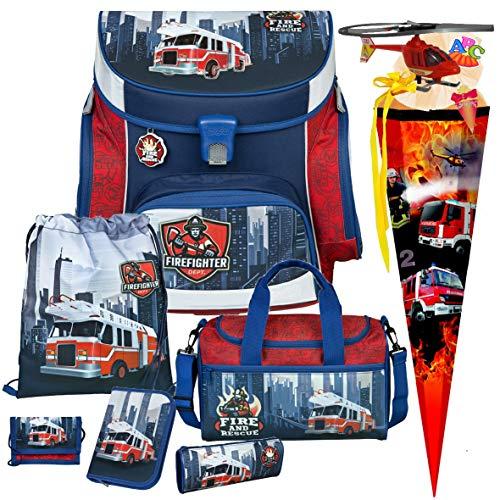 Feuerwehr Schulranzen-Set 8tlg, Scooli Undercover, Campus Fit mit Sporttasche, Schultüte und Schultütenschmuck