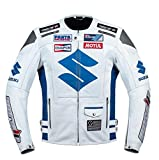 Suzuki White Motorcycle Racing Leather Jacket (L EU52-54)