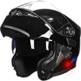 ILM Bluetooth Motorcycle Helmet Modular Flip up Full Face Dual Visor Mp3 Intercom FM Radio DOT Approved (Gloss Black, M)