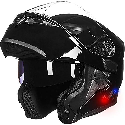 ILM Bluetooth Motorcycle Helmet Modular Flip up Full Face Dual Visor Mp3 Intercom FM Radio DOT Approved (Gloss Black, L)