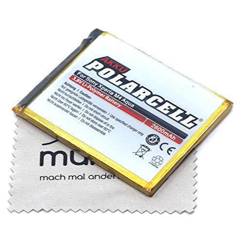 Batería de repuesto para Sony Xperia M4 Aqua (sustituye a batería original LIS1576ERPC) Polarcell con paño de limpieza de pantalla Mungoo