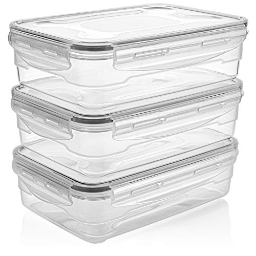 Homemaid Living Premium Airtight Plastic Storage Containers Easy Lock Lid, Microwave Freezer and Dishwasher Safe, Perfect Meal Prep or Food Storage Containers (1200ml)
