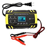 12V/24V Smart Battery Charger | Pulse Repair Charger with LCD Display | Intelligent Mode Overvoltage Protection Temperature Monitoring for Car, Truck, Motorcycle, Boat, SUV, ATV