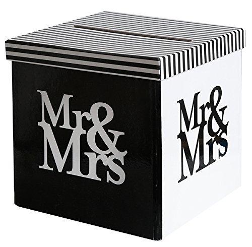My Weddingshop Geld-Box/Brief-Box/Hochzeits-Box Mr & Mrs in schwarz & weiß - ideal für Kuverts, Hochzeits-Karten & Geld-Geschenke zu Ihrer Hochzeit, Geburtstags-Umschläge, Sammel-Box