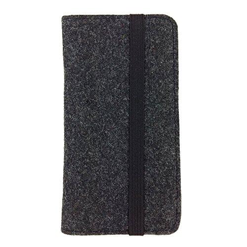 handy-point Universell Organizer für Smartphone Tasche aus Filz Filztasche Filzhülle Hülle Schutzhülle mit Kartenfach für Samsung, iPhone, Huawei (5,6-6,4 Zoll max 18 x 9,3 m, Melange: Schwarz)