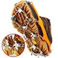 U UZOPI Traction Ice Cleat Crampons Snow Grips with 24 Anti-Slip Stainless Steel Spikes Safe Protect for Hiking Fishing Walking Climbing Jogging Mountaineering (Brown, M)