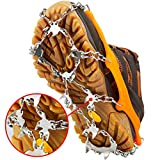 U UZOPI Traction Ice Cleat Crampons Snow Grips with 24 Anti-Slip Stainless Steel Spikes Safe Protect for Hiking Fishing Walking Climbing Jogging Mountaineering (Brown, L)