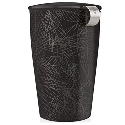 Tea Forte Kati Cup Noir, Ceramic Tea Infuser Cup with Infuser Basket and Lid for Steeping Loose Leaf Tea