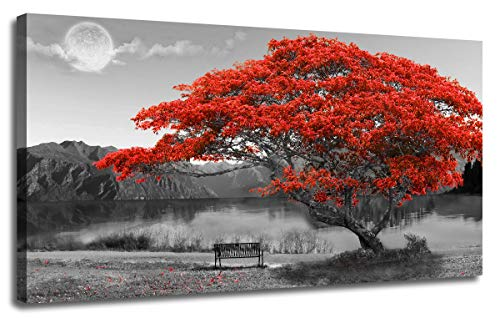 """Ardemy Red Tree Canvas Wall Art Lake Moon Picture Prints Modern Landscape Panoramic Painting, Nature Scenic Artwork for Living Room Bedroom Home Office Wall Decor, Framed Large Size 48""""x24"""""""