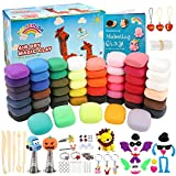 HOLICOLOR Modeling Clay Kit Air Dry Magic Clay for kids 52 Colors Includes Extra 3 White and 1 Black Kids Art Craft Kit with Animal Accessories Set and Tools Best Gift for Girls and Boys 3-12 year old