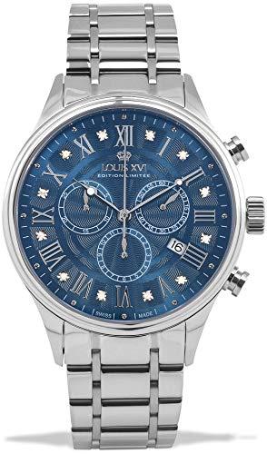 LOUIS XVI Herren-Armbanduhr Danton Silber Blau echte Diamanten Stahlband Römische Zahlen Chronograph Analog Quarz Edelstahl 1000