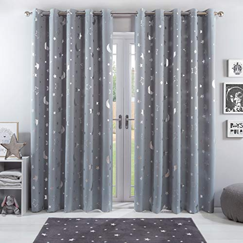 Dreamscene Galaxy Thermal Blackout Curtains Pair of Eyelet Ring Top Panels Kids Metallic, 100% Microfibre, Silver Grey Moon Stars, 46' wide x 54' drop