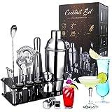 OMEW Cocktail Shaker Set 20 teilig Edelstahl Cocktail Bar Zubehör 750ml Cocktailshaker 3 Whisky Steine Edelstahl Eiswürfel mit Acrylständer
