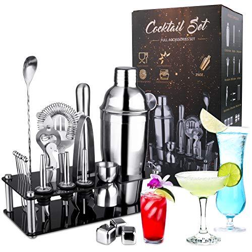 Icnow Set Cocktail Shaker 750 ML, 21 Pezzi Kit Barman Set di Strumenti Bar Mensola Acrilico, Filtri per Cocktail, Cucchiai da Bar, Beccucci, Whisky Stones