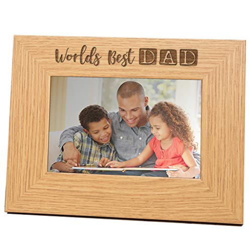 Wooden Engraved Dad Photo Frame - Dad Picture Frame Gift Idea- 6x4 Landscape Worlds Best Dad Frame - Birthday Present For Daddy from son and baby daughter For Dad