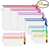 JARLINK 18 Pack 8 Sizes Zipper Mesh Pouch, Waterproof Zipper File Bags Document Pouch Multipurpose Travel Bags for Office Supplies Cosmetics Travel Accessories