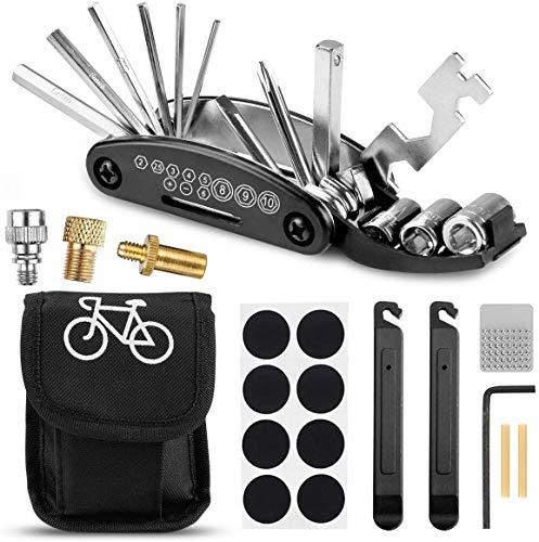 Yomiin Fahrrad-Multitool, Fahrrad Werkzeug Tool 16 in 1 Multifunktions-Reparatursatz Fahrradwerkzeug Set und Fahrradventil Adapter für Fahrrad Reparatur, Werkzeugset Fahrrad mit Tasche