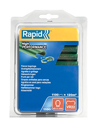 Rapid Zaun-Ringklammern VR22 Grün, 1.100 Stk., zur Befestigung von Spanndrähten und Zäunen, für FP222 un FP20 Zaunzange