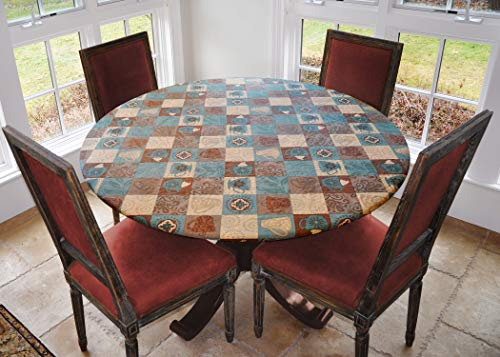 "Covers For The Home Deluxe Elastic Edged Flannel Backed Vinyl Fitted Table Cover - Global Coffee Pattern - Small Round - Fits Tables up to 40"" - 44"" Diameter"