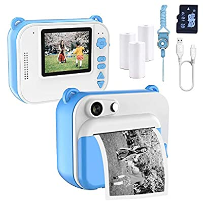 Gemgucar Kids Camera Zero Ink Print Photo Selfie 1080P Video Digital Camera Instant Print Camera with Print Paper 16GB Micro SD Card for Boys and Girls from Gemgucar