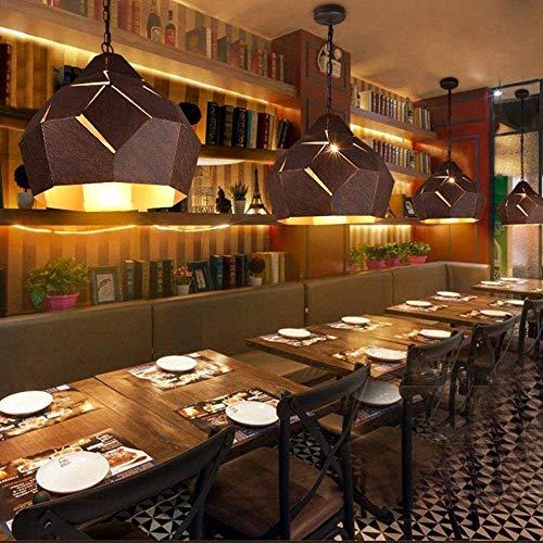 HYY-YY Industrial Retro E27 hierro forjado arte retro vintage restaurante redondo diamante pantalla de metal óxido altura ajustable decoración