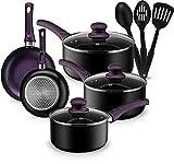 Chef's Star Pots and Pans Set, Aluminum Nonstick Cookware Set, Fry Pans, Casserole with Lid, Sauce Pan, and Utensils, 11 Pieces Cooking Set, Purple