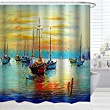 BROSHAN Colorful Nautical Shower Curtain Fabric, Antique Pirate Ships Sailboat on Ocean Sunset Painting Bathroom Art Curtain, Marine Fabric Bathroom Decor Set with Hooks