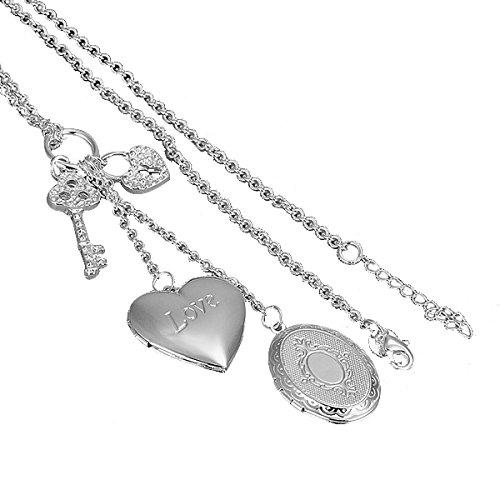 CuteEdison Nueva Joyería de moda clásico 925bonita Classic Solid Bañado En Plata Corazón Collar con camafeo + Caja de Regalo