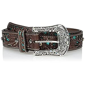 Ariat Women's Turquoise Inlay Floral Bling Belt 5
