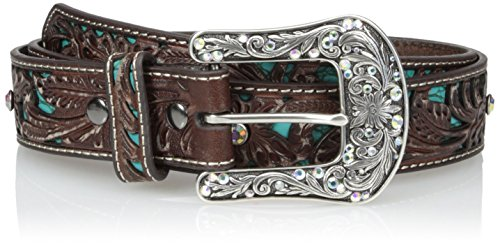 Ariat Women's Blue Inlay Floral Bling Belt, brown, Medium