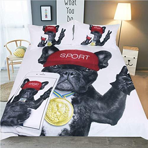 NTT Duvet Cover Dog Bedding Set 3D Animal Cartoon Bed Set For Kids Cute Dog Print Duvet Cover Home Bedclothes 150 * 200Cm