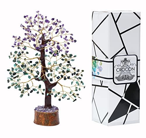 "Crocon Amethyst & Emerald Gemstone Tree Feng Shui Figurine Money Bonsai Good Luck Chakra Balancing Reiki Healing Crystals Decoration Ornament Sculpture Prosperity Table Decor Gift Size 10-12"""