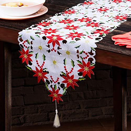 BELLE VOUS Caminos Mesa Navidad - 175 X 38cm Camino de Mesa Bordado – Mantel Flor de Pascua y Acebo para el Hogar, Restaurante, Boda y Decoraciones de Fiesta - Decoracion Navidad